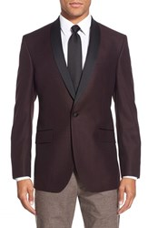 Men's Big And Tall Ted Baker London 'Josh' Trim Fit Wool Dinner Jacket Burgundy