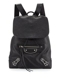 Balenciaga Metallic Edge Nickel Traveler Goatskin Backpack Black