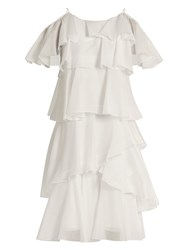 Anna October Tiered Ruffled Georgette Dress White