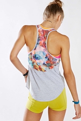 Without Walls Printed Mesh Back Tank Top Grey