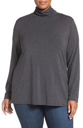 Sejour Plus Size Women's Stretch Modal Turtleneck Grey Dark Charcoal Heather