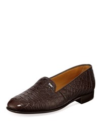 Gravati Alligator Slip On Loafers Brown