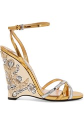 Prada Embellished Metallic Leather Wedge Sandals Gold