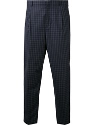 3.1 Phillip Lim Cropped Check Trousers Blue
