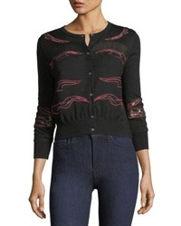 Neiman Marcus Cashmere Placed Lace Crewneck Cardigan Black Red Hotpink