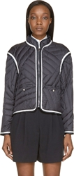 Moncler Gamme Bleu Navy Piped And Quilted Down Jacket