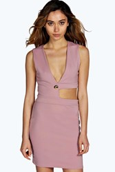 Boohoo Cut Out Plunge Neck Bodycon Dress Mauve