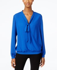 Ny Collection Tie Neck Faux Wrap Top Surf The Web