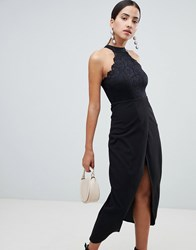 Ax Paris Scalloped Sqaure Neck Maxi Dress With Wrap Front Black