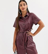 Missguided Tall Leather Look Shirt Dress With Belted Waist In Burgundy Red