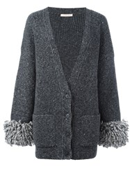Christopher Kane Oversized Cuff Cardigan Grey