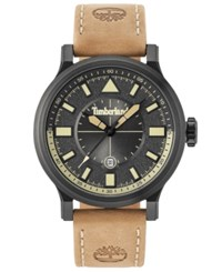 Timberland Men's Driscoll Light Brown Leather Strap Watch 46Mm Brown Light
