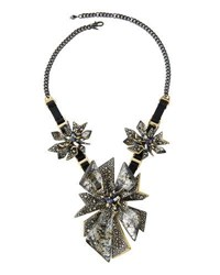 Alexis Bittar Two Tone Crystal Studded Perennial Punk Bib Necklace Silver