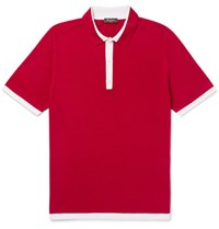 Berluti Contrast Tipped Knitted Silk And Cotton Blend Polo Shirt Red