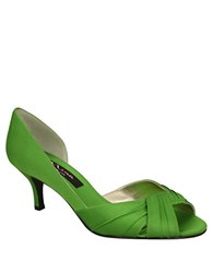Nina Culver Satin Open Toe Pumps Green