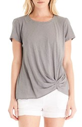 Michael Stars Women's Pleat Front Crewneck Tee Silver Fox