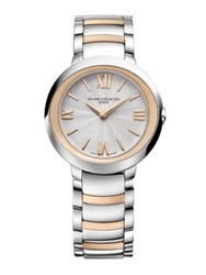 Baume And Mercier Promesse 18K Rose Gold And Stainless Steel Bracelet Watch Silver Rose Gold
