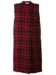 Marni Sleeveless Checked Coat Red