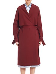Rosetta Getty Stretch Wool Shawl Trench Coat Bordeaux