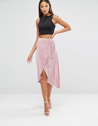 Asos Tall Wrap Midi Skirt In Velvet Nude Pink