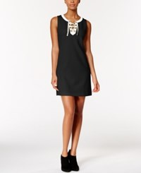 Kensie Colorblocked Lace Up Dress Black Combo