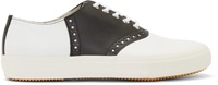 Comme Des Garcons White And Black Leather Oxford Sneakers