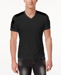 Inc International Concepts Men's Faux Leather Pieced T Shirt Only At Macy's Deep Black