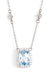 Women's Lafonn 'Aria' Square Pendant Necklace Silver Blue Topaz