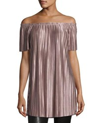 Glamorous Off The Shoulder Pleated Tunic Lilac