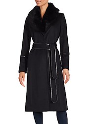 Badgley Mischka Fur Collar Trench Coat Black