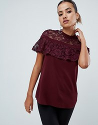 Ax Paris Lace Short Sleeve Top Purple