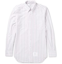 Thom Browne Slim Fit Button Down Collar Striped Cotton Oxford Shirt White