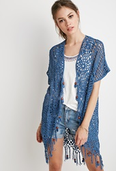 Forever 21 Beaded Tassel Crochet Cardigan Blue