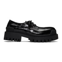 Balenciaga Black Croc Strike Derbys
