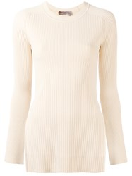Sportmax Torre Ribbed Kniited Blouse Nude Neutrals