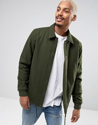 Asos Wool Mix Coach Jacket In Khaki Khaki Green