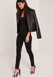 Missguided High Waisted Lace Up Skinny Jeans Black