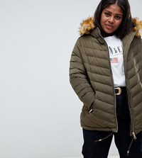 Lovedrobe Quilted Jacket With Faux Fur Trim Green