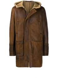 Salvatore Santoro Shearling Lined Hooded Jacket Brown