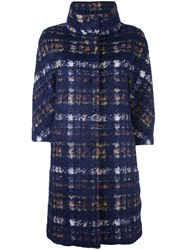 Herno Plaid Button Down Coat Blue