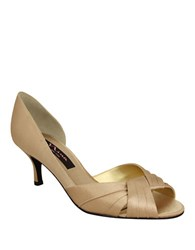 Nina Culver Satin Open Toe Pumps Gold