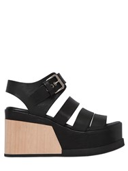 Elena Iachi 90Mm Leather And Wood Wedge Sandals