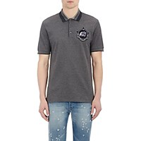 Givenchy Men's Monkey Patch Appliqued Polo Shirt Grey