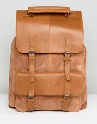 Asos Backpack In Tan Leather And Suede Mix Tan