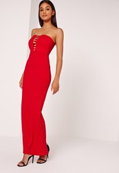 Missguided Bandeau Plunge Crepe Maxi Dress Red Red
