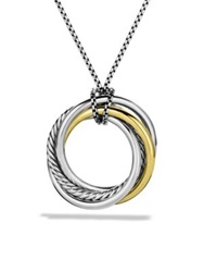 David Yurman Crossover Pendant With Gold On Chain Silver Gold