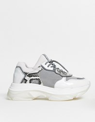 Bronx Leather Chunky Trainer In Grey And Snake Multi