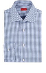 Isaia Men's Gingham Cotton Poplin Shirt Navy Light Blue Navy Light Blue