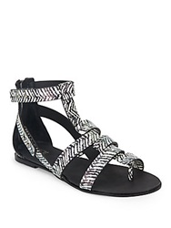 Joe's Jeans Ranger Zebra Print Leather Sandals Black White