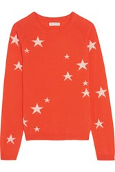 Chinti And Parker Star Intarsia Cashmere Sweater Orange